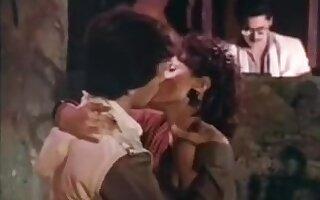 Retro brunette lady seduces a young boy for sex